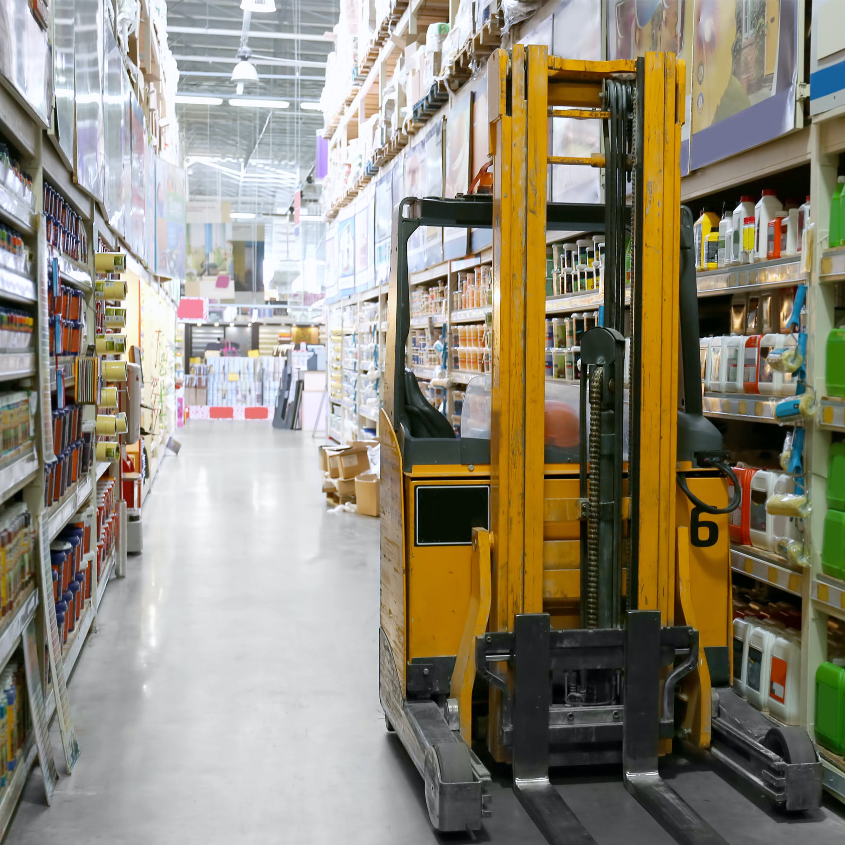 forklift in a retail store
