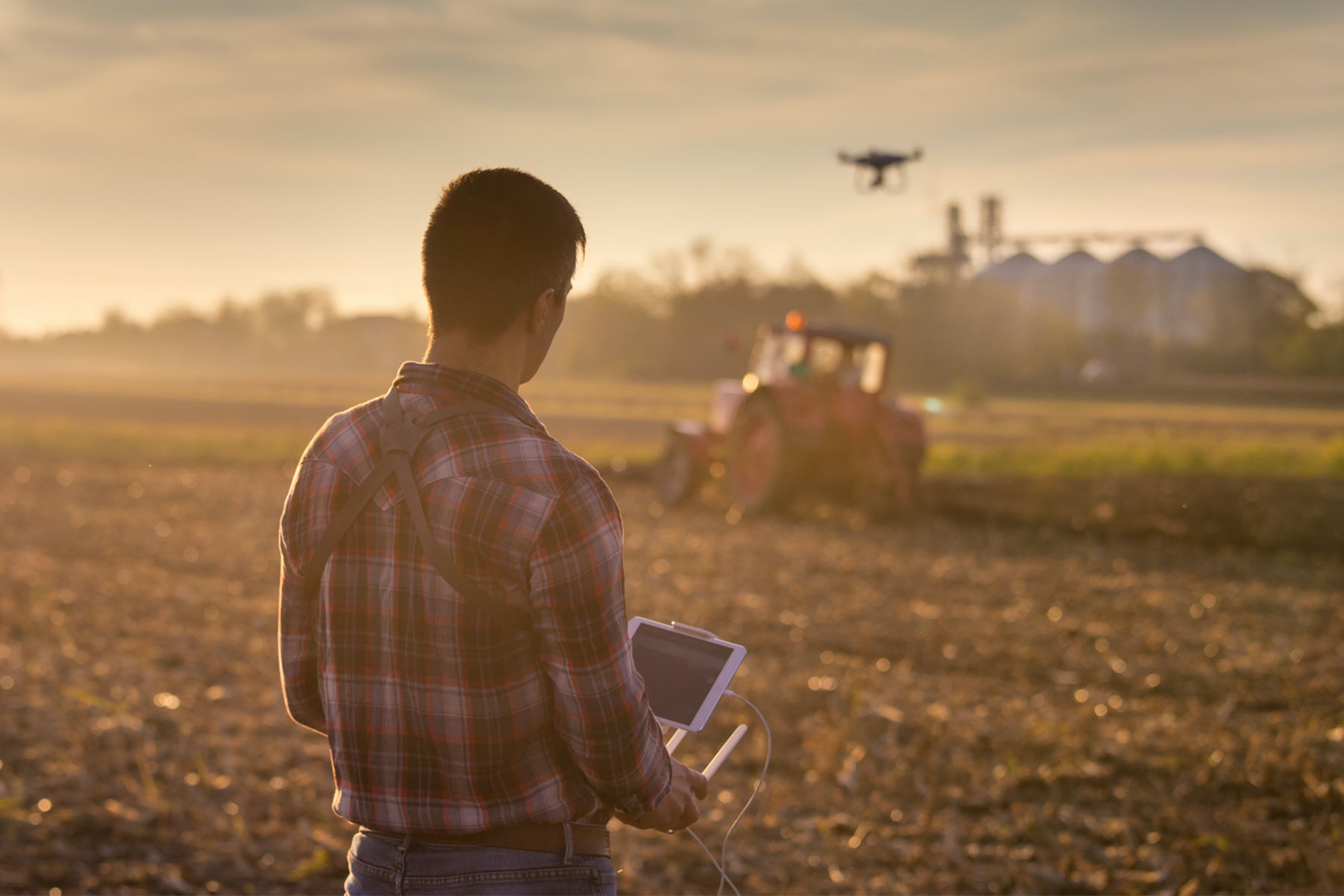 man using drone in field with crops