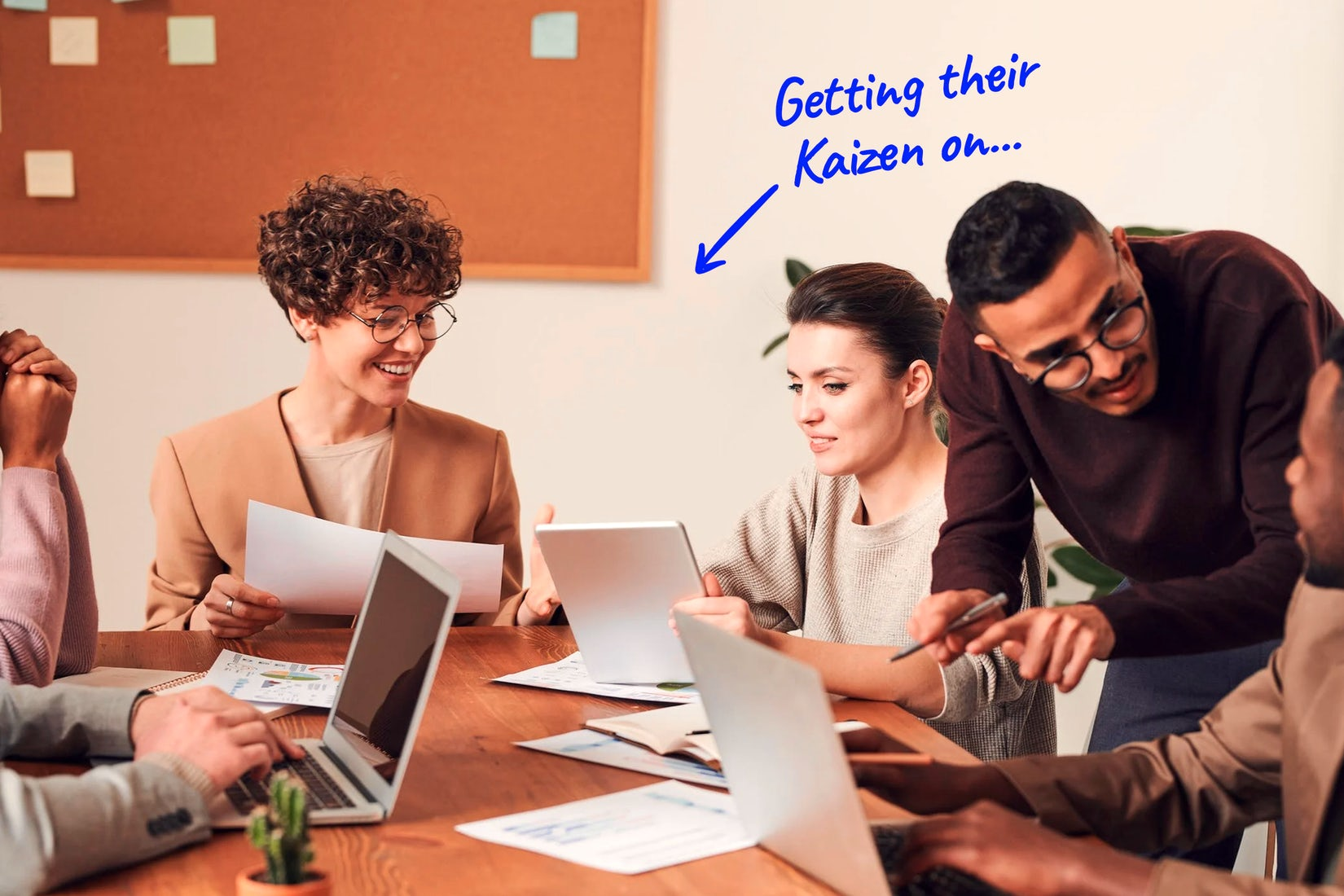 a meeting happening in an office