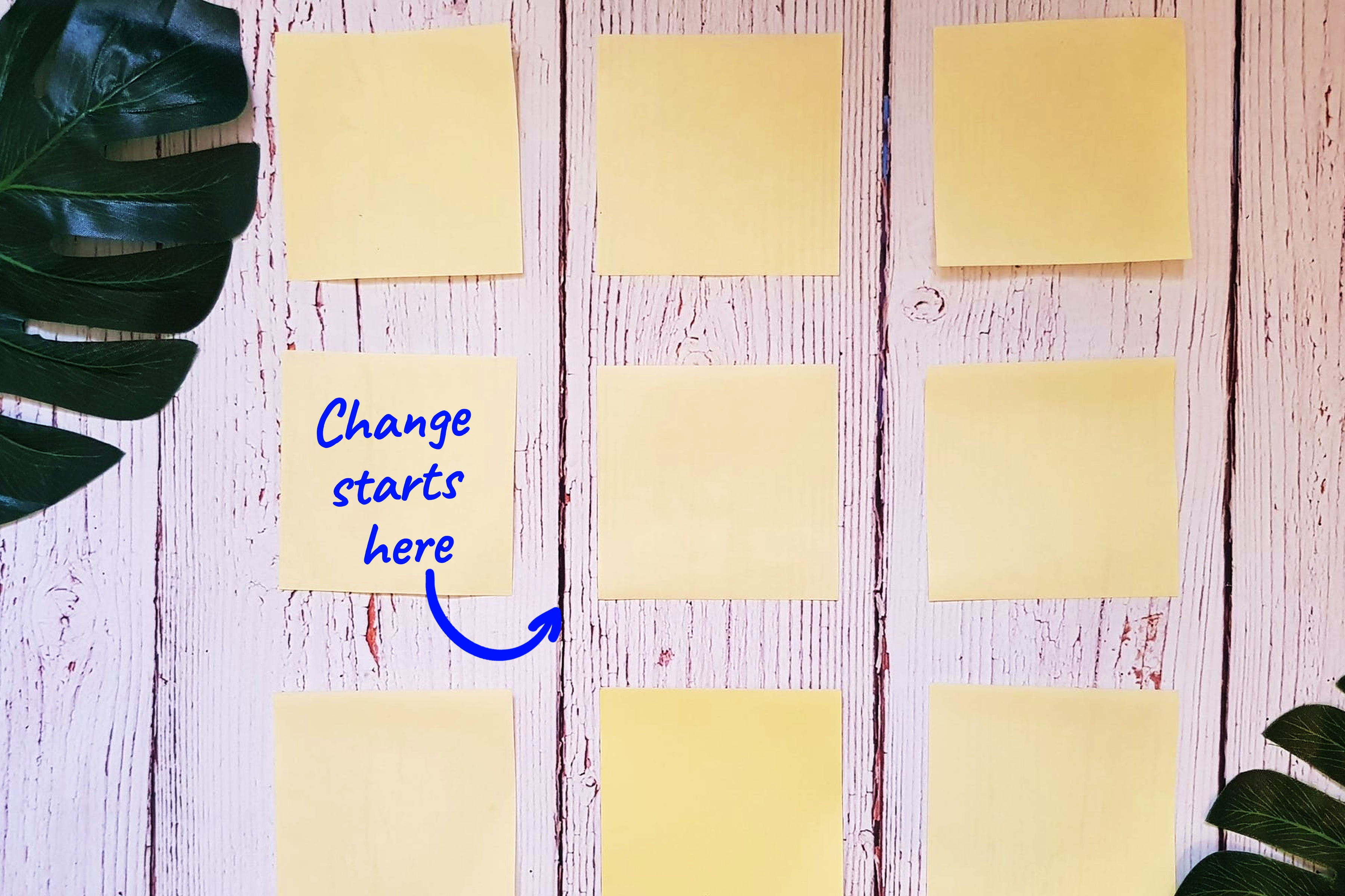 post it notes on a wooden board